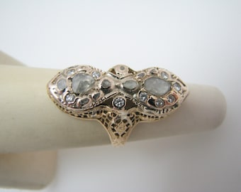 Unique 1800's Single Rose Cut Diamonds Dinner Ring in 14k Yellow Gold