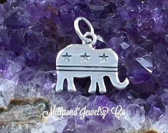 Republican Elephant Charm, Republican Charm, Silhouette Elephant Charm, Sterling Silver Charm, Political Charm, PS01489