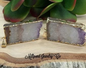Amethyst Slice, Amethyst Connector, Amethyst Slice Pendant, Amethyst Druzy Pendant, Drusy Pendant, 24 Karat Gold, PG0409G