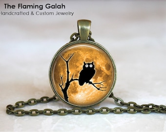 SPOOKY OWL in the MOONLIGHT Pendant • Owl Silhouette • Owl Shadow • Gift Under 20 • Made in Australia (P0327)