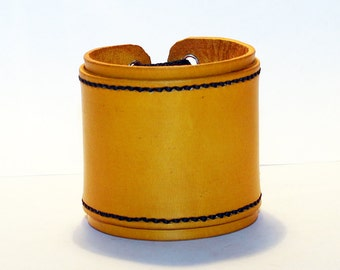 Yellow Leather Cuff Bracelet! Nice Gift For Women! Nice Gift For Men! Great Handmade Leather Bracelet! Handmade Leather Accessories!