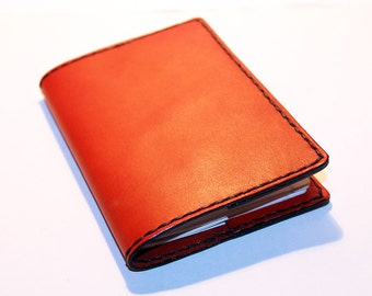 Leather Passport Cover! Leather Passport Holder! Leather Travel Passport Cover! Orange Handmade Passport Cover! SALE!
