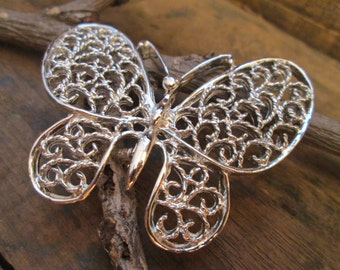 Vintage silver tone gerry's open work filigree butterfly brooch