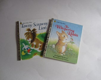 Vintage My Little Golden Books Set of Two The Whispering Rabbit and Tawny Scrawny Lion, Whispering Rabbit, Tawny Scrawny Lion