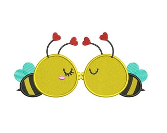 Kissing Bees Machine Embroidery Filled Design Digitized Pattern - Instant Download