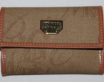 Vintage NINA RICCI Signature Canvas /  Leather Key Case