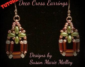 TUTORIAL:  Pattern Beaded Art Deco Style Cross Earrings Tila Super Duo Seed Beads Wire