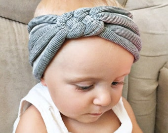 Heathered Gray knit sailors knot headband