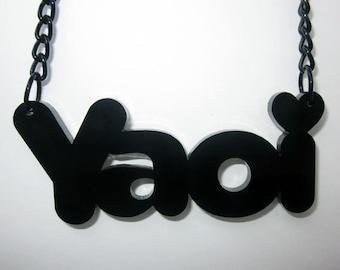 Yaoi Necklace, Acrylic Laser Cut Black Jewelry, Anime Pendant, Gift