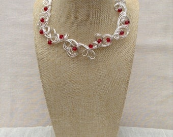 Silver Wire  and Red Crystal Necklace