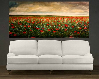 Landscape of Poppy Field Original Large Abstract Landscape Oil Painting, Wall Decor, Fine Art