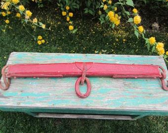 Vintage Red Antique Horse Mule Drawn Single Tree Primitive Wood Metal