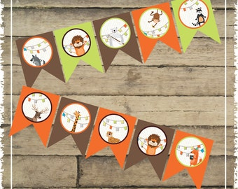 Zoo Party Birthday Banner Circles - Printable