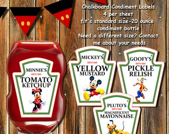 MICKEY MOUSE CLUBHOUSE Condiment Labels-Mickey Mouse Ketchup labels-Disney Ketchup Labels-Minnie-Mickey-Pluto-Goofy Condiment Ketchup Labels