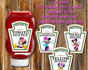 On SALE-MINNIE MOUSE Condiment Labels-Minnie Mouse Ketchup-Mustard Labels-Party Favors-Minnie Moue Invitations-Party Labels-Party Tags