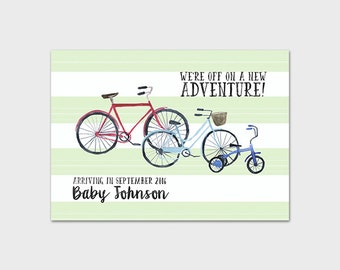 Bicycle Pregnancy Announcement Printable Pregnancy Reveal We're Expecting Announcement Boy Baby Pregnancy Reveal Mint 5x7 Digital File