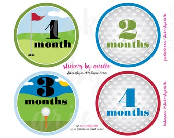 Month by Month Baby Stickers - Golf Theme