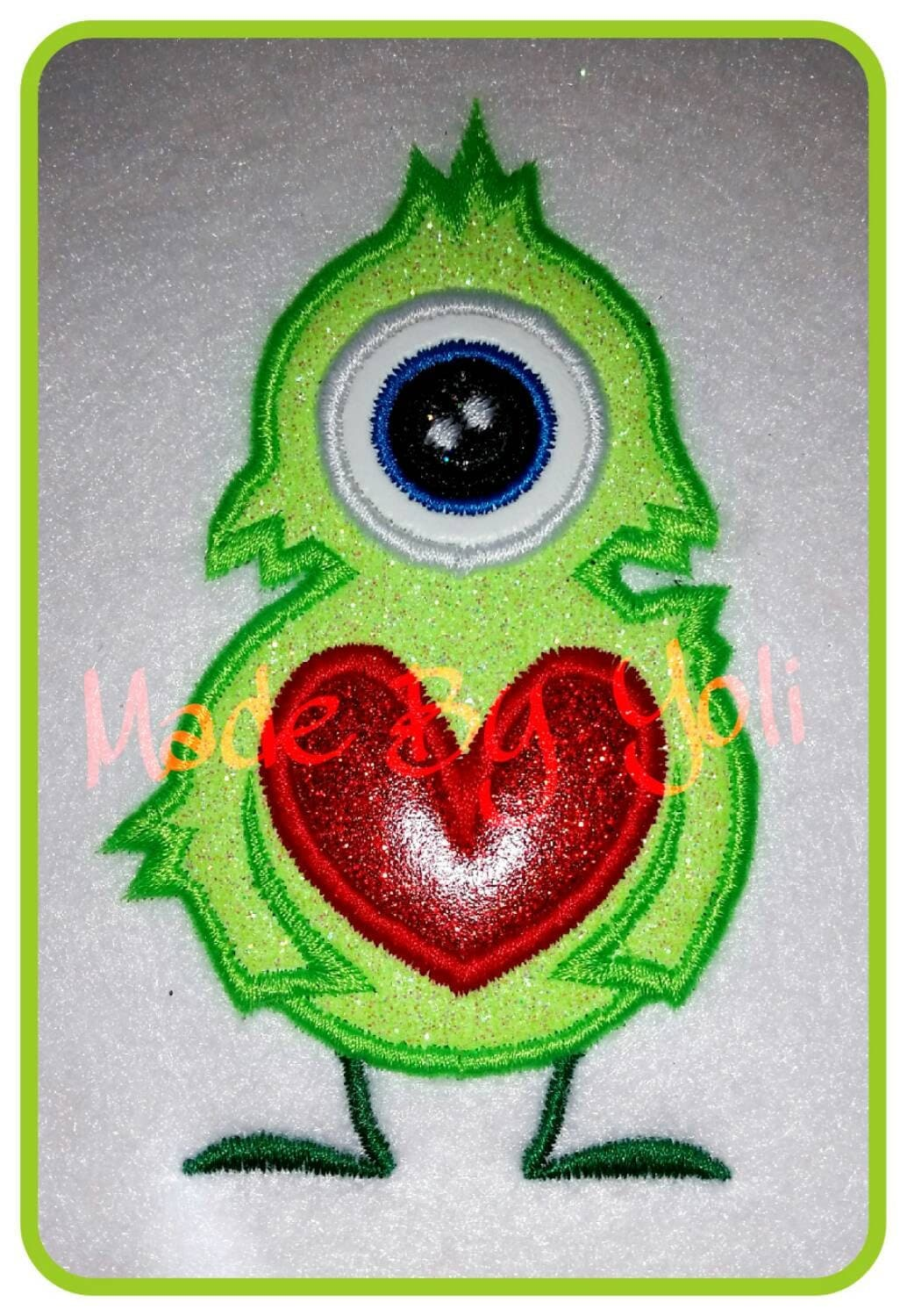 Valentine one eye monster embroidery design digitized