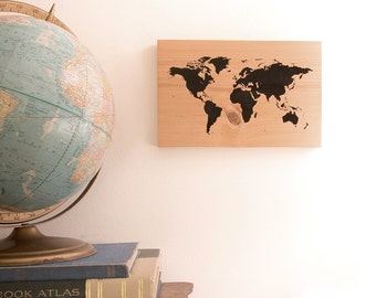 Push pin travel map of the world on reclaimed wood with pins world push pin travel map on canadian hemlock wood with pins anniversary graduation gumiabroncs Choice Image