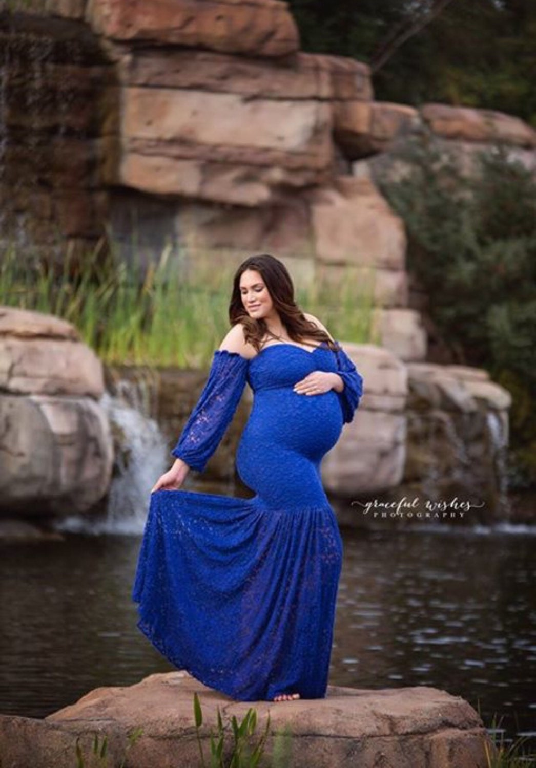 Royal Blue Lace Maternity Gown with extra fluffy lace long