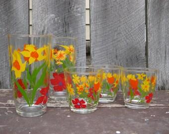Five Vintage Garden Glasses