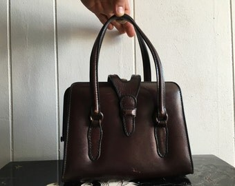 60s leather handbag | vintage small brown boxy purse