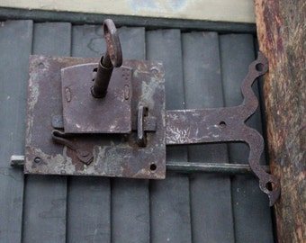 Antique Hand Forged Primitive Door Lock with Key and Escutcheon Rustic
