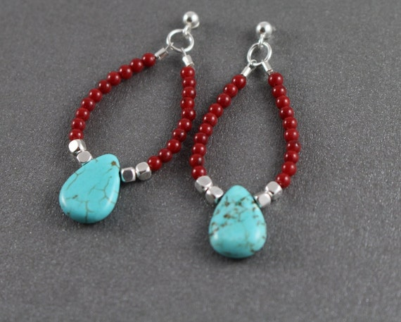 coral and turquoise earrings beaded dangle by tamdavisdesigns