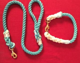 Aqua Leash & Collar Set (READ DESCRIPTION)