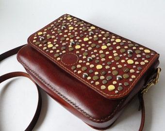 Leather Crossbody Bag, Womens Leather Handbag, Studded Handbag, Handmade Leather Handbag