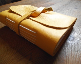 A5 Handmade Yellow Leather Journal
