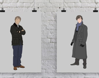 BBC Sherlock Holmes John Watson Johnlock Prints Illustration Drawing Portrait