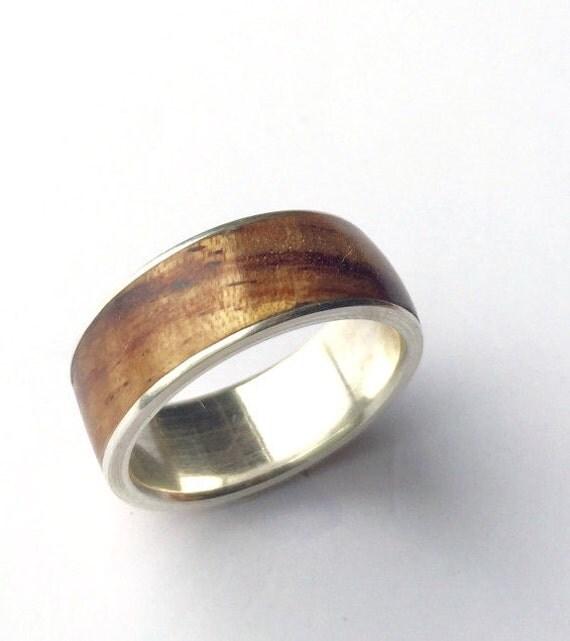Mens Ring Wood Ring Sterling Silver Ring Mens Wood Ring
