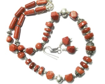 Sunstar Beautiful Beaded stone Necklace with earring
