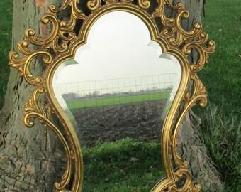 Vintage Mirror Hollywood Regency Ornate Wooden Beveled Glass Vanity Lovely