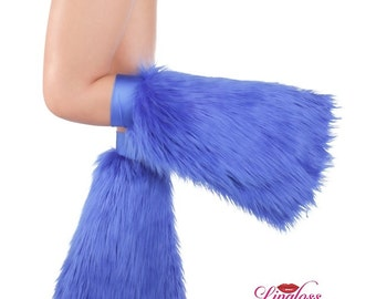 Royal Blue Rave Fluffie, Royal Blue Furry Leg Warmer, Royal Blue Fur Boot Cover, Rave Boot Cover, Faux Fur, Fluffy