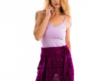 Purple Lace skirt / Beach cover up