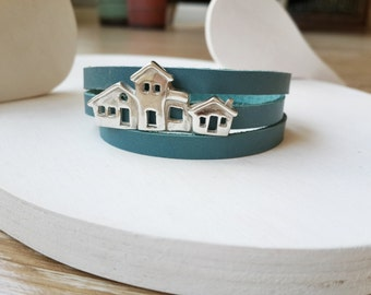 Sterling Silver House Bracelet with Blue Genuine Leather- Mother's Day Gift,Valentine's Day Gift-Anniversary Birthday Gift-Handmade Necklace