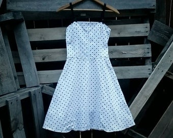 Vintage Black and White Polka Dot Bows Dress Size Small