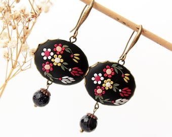 Red black earrings, black flower earrings, embroidered polymer clay, gothic earring,s black floral earrings, large black, nocturne jewelry