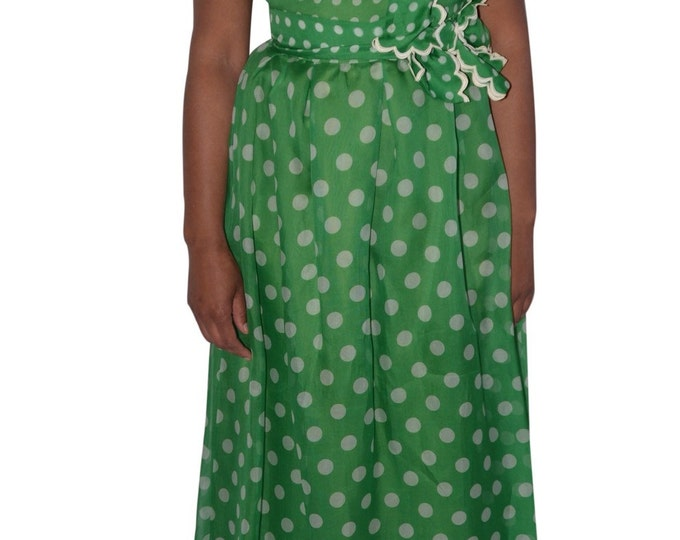 Nina Ricci Haute Boutique Made in Paris France Vintage Estate Green White Polka Dot Silk Dress