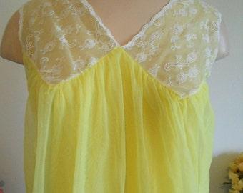 Vintage 1960's ~ Daffodil Yellow Nightgown ~ Nylon & Chiffon ~ Pretty Girl ~ Lolita ~ VLV ~  Elegant ~ Feminine~ Size S-M