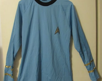 Star Trek Science Officer Uniform Shirt, Paramount Pictures, Blue, Size Youth Large, 1980's