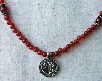 Carnelian Vishnu's footprints Necklace