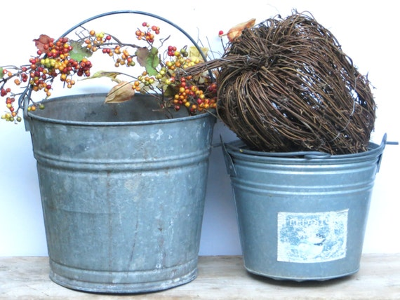 Galvanized bucket large and small old metal pails galvanized for Galvanized metal buckets small