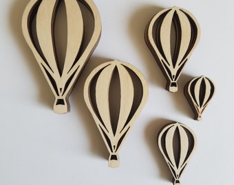 Laser Cut Wooden Hot Air Balloon Die Cut Outs Variety Pack