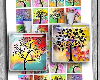 "Tree of Life 1x1"" 0.75x0.83"" 1.5x1.5"" images for Jewelry Scrabble tile images Printable Digital Collage Sheet - Instant Download"