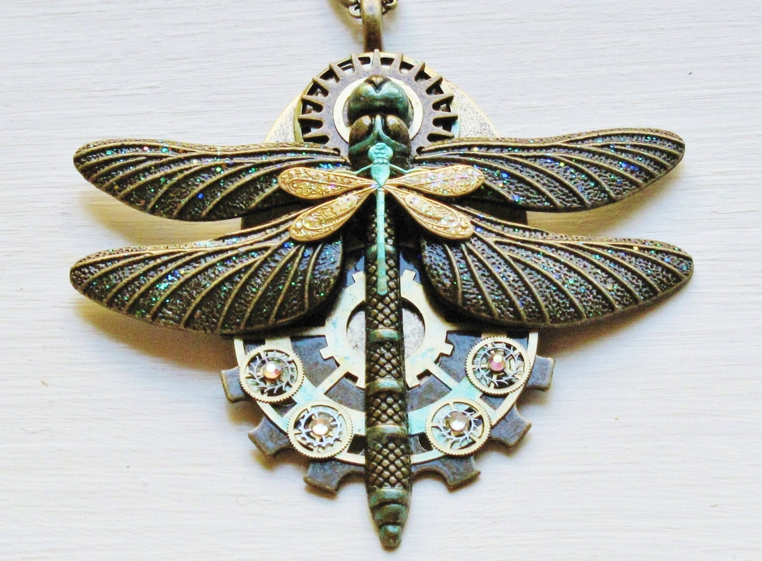 Steampunk Dragonfly & Gear Pendant Necklace Double Dragonfly