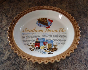 Pie Plate Pottery Made in Japan Southern Pecan Recipe on the Plate Kitchen Housewares a2392
