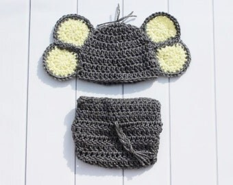 Baby Elephant Hat, Crochet Baby Hat, Baby Elephant Set, Newborn Photo Prop, Elephant Photo Prop, Newborn Elephant Hat, Elephant Costume Set